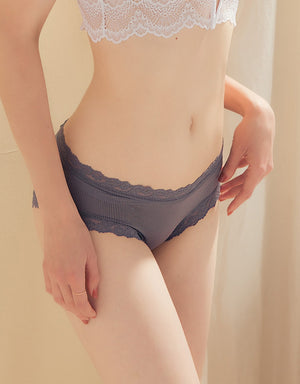 Lace Trim Criss Cross Brief Panty