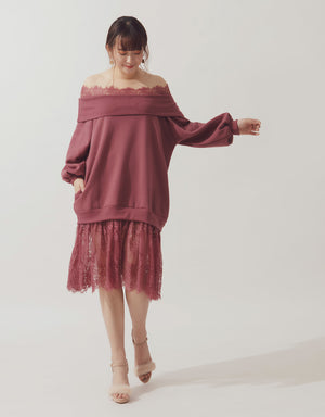 Lace Splice Off Shoulder Fleece Dress