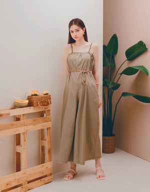 Thin Strap Straight Neck Wide-Leg Belted Jumpsuit