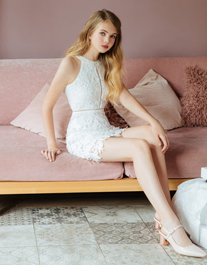 Lace Jacquard Eyelet Halter Dress