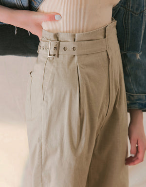 High-Waisted Paperbag Sided Accessories Pants