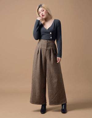 High-rise Pleated Houndstooth Pants