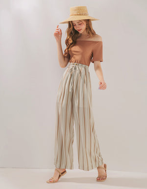Vacation Striped Wide-Leg Belted Pants