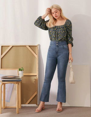No Filter Shape-Up Slimming Denim Trumpet Pants