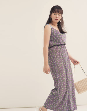 Back Ribbon Printed Chiffon Jumpsuit