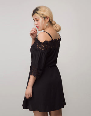 Thin Strap Jacquard Lace Flare Dress