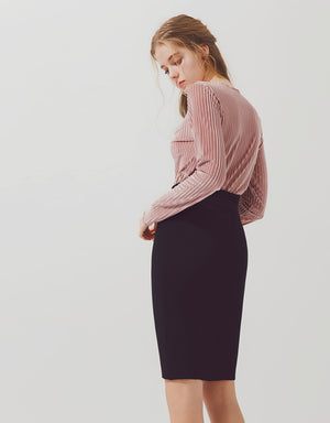 Plain Long Sleeve Velvet Top
