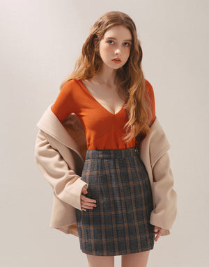 Checkered Metal Belt Skirt