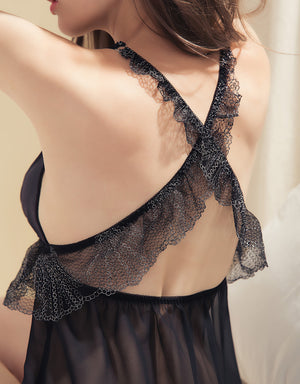 Cross Back Lace Splice Chiffon Slip
