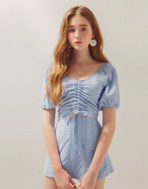 Eyelet Lace Off Shoulder Ruched Ribbon Crop Top