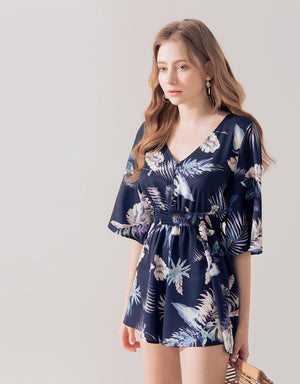 Tropical V Neck Button Up Playsuit