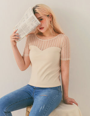Mesh Lace Transparent Splice Knitted Short Sleeve Top