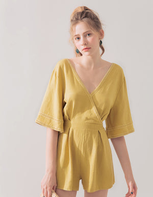 Crossover V-Neck Linen Playsuit