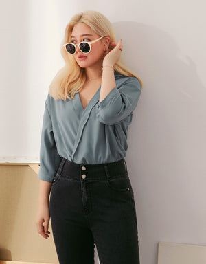 Crossed Lapel Drop Shoulder Top
