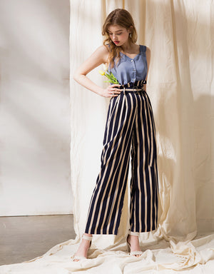 Contrast Colour Striped Paperbag Belted Pants