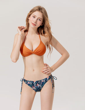 Plain Front Twist Bikini Swimwear Top