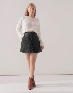 Buttoned A-Line Leather Skirt