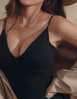 Thin Straps Deep V Elastic Bra Top (With Sewed-In Padding)