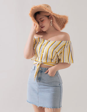 Off Shoulder Button Up Knotted Top