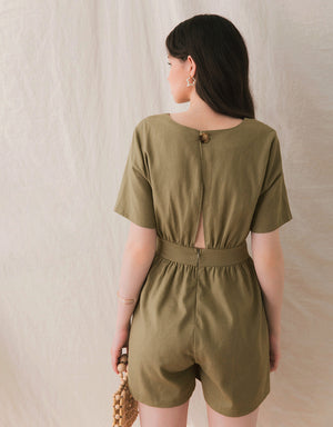 Round Neck Hollow Back Playsuit