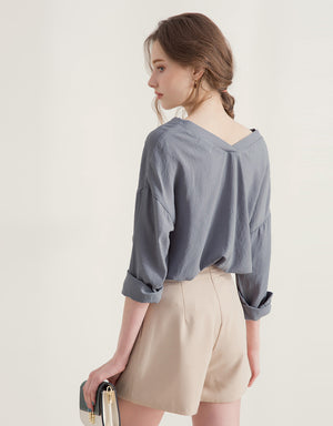 Front and Back V Neck Blouse