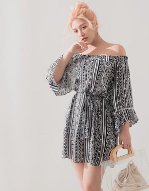 Bohemian Off Shouder Belted Thin Dress