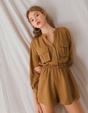 (PRE-ORDER ETA 30/6) Sleek Two-Pocket Cinched Waist Playsuit