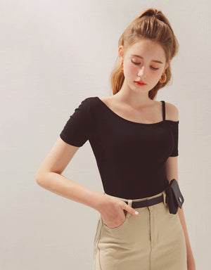 One Cold Shoulder Short Sleeve Fitted Top