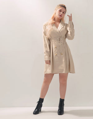 Double Breasted Lapel Collar Long Sleeve Belted Dress