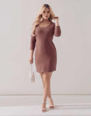 2Way Lace Straps Knitted Bodycon Dress
