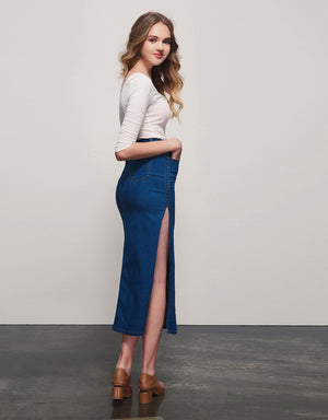 High-rise Split Denim  Maxi Skirt