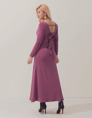 Hollow Back Ribbon Long Sleeve Dress