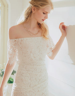 Off Shoulder Eyelash Lace Bodycon Dress