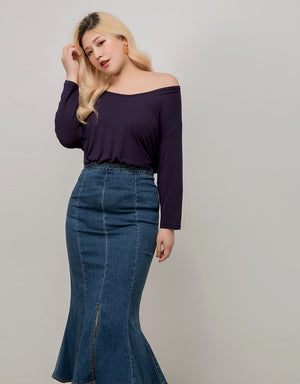 Fishtail Split Denim Skirt