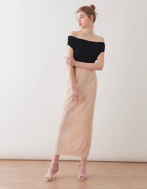 Gloss Pleated Straight Midi Skirt
