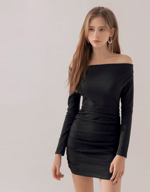 Off Shoulder Shirred Bodycon Long Sleeve Dress