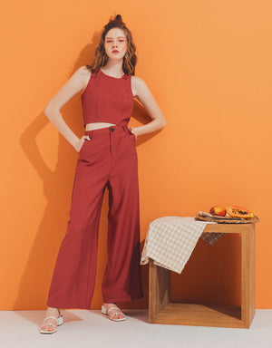 Plain Sleeveless Set Wear