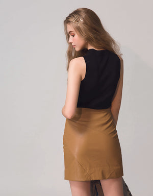High Waisted Slit Leather Skirt
