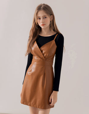 Sexy Thin Strap Crossover Leather Dress