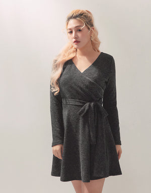 Shirred Wrap Knitted Long Sleeve Dress