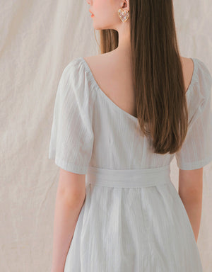 Creased Crossover Belted Dress