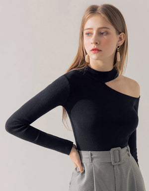 One Shoulder Long-Sleeve Knit Top