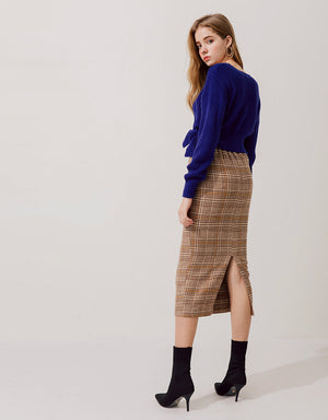 Elegant Plaid Split Knit Pencil Skirt