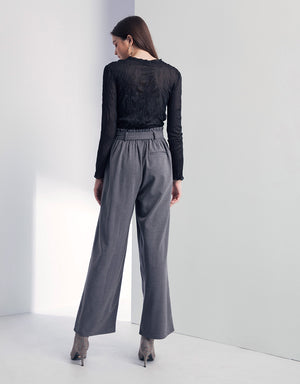 High-rise Pleated Belted Floor Pants