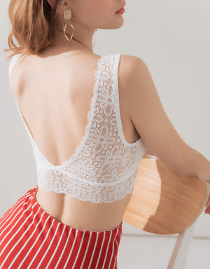 WIDE-STRAPPY LACE BRALETTE  WITH DETACHABLE BRA PAD
