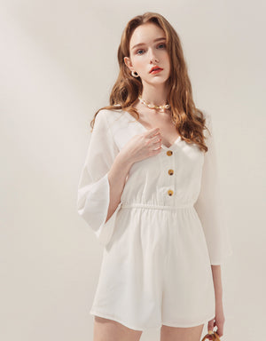 (PRE-ORDER ETA 30/5) V-Neck Button Up Wide Sleeve Cinched Waist Playsuit