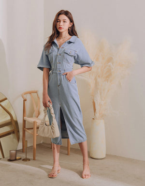 Stylish Lapel Denim Slit Midi Dress
