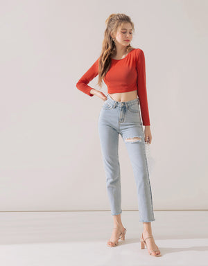 Plain Long Sleeves Crop Knitted Top