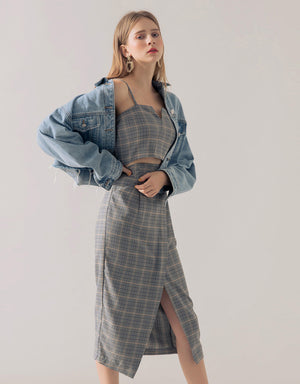 Plaid Shirred Slit Cami Skirt Set Wear