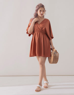 Crossover Long Sleeve Dress
